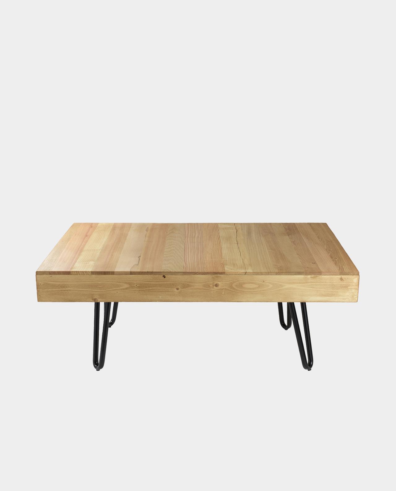 massivholz couchtisch baumstamm metallgestell. Black Bedroom Furniture Sets. Home Design Ideas